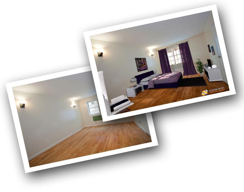 Foto interiéru před a po zařízení v programu ARCHline