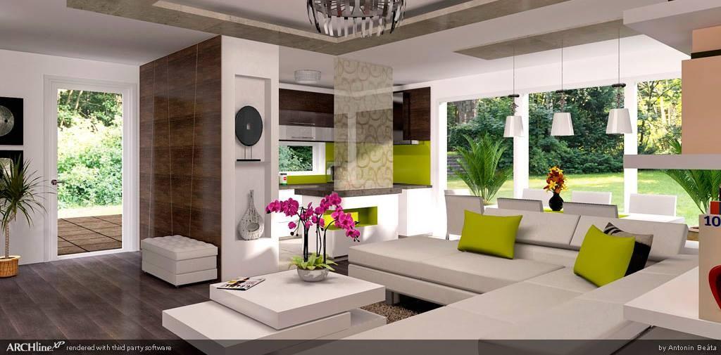 Obývací pokoj vytvořený v programu ARCHline.XP