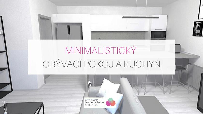 Minimalistický obývací pokoj a kuchyň