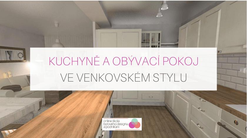 Návrh kuchyně a obýváku ve venkovském stylu